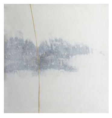 Golden Line 3   Ink and acrylic gold on canvas 159 x 150 x 2 cm  2015