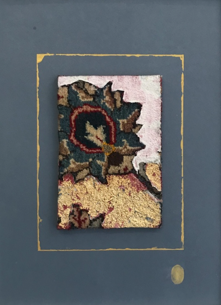 Katibeh #05   Persian carpet with layer of gold leaf and oil color  12 x 24 cm in frame  2018