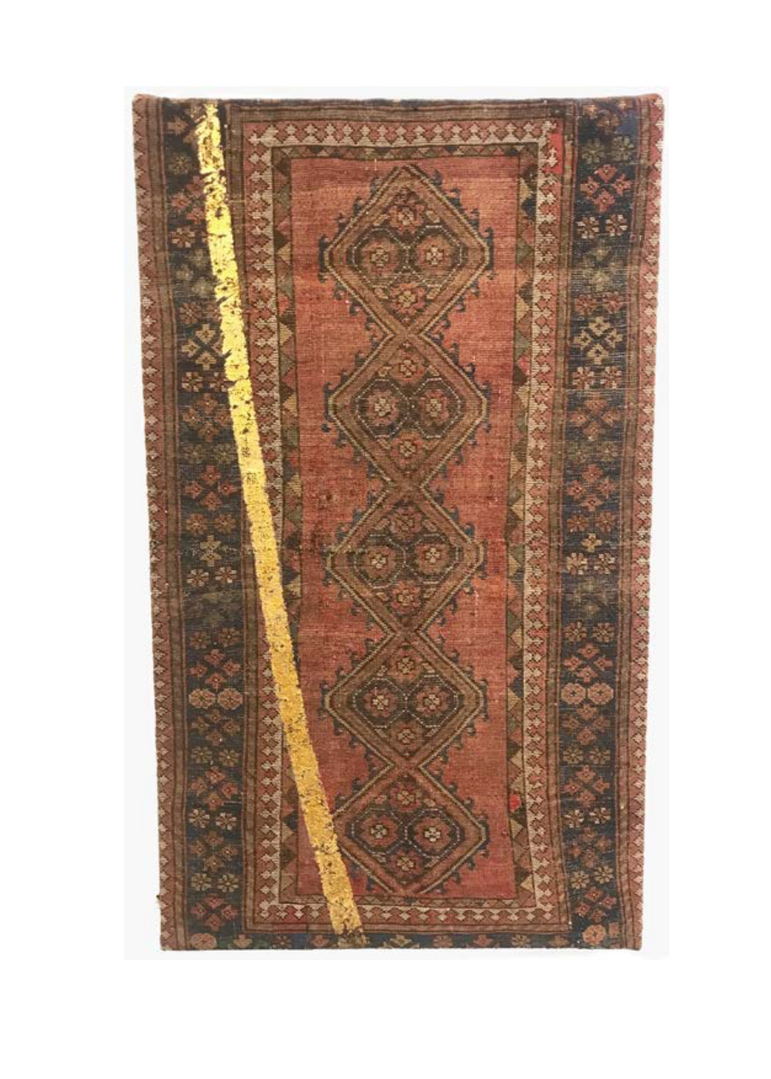 Farsh-Golden Line #03   Persian carpet with layer of gold leaf  98 x 166 x 5 cm 2015