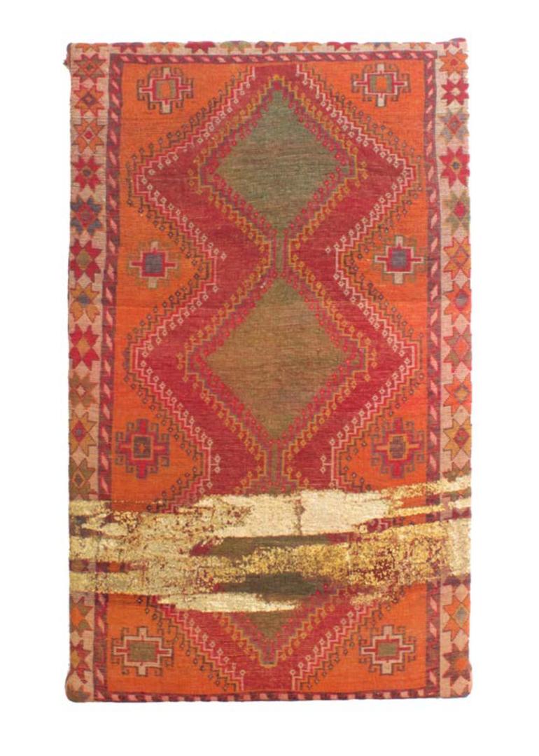 Farsh-Persian Calligrafi B #01   Persian carpet with layer of gold leaf  112 x 186 x 7 cm 2015
