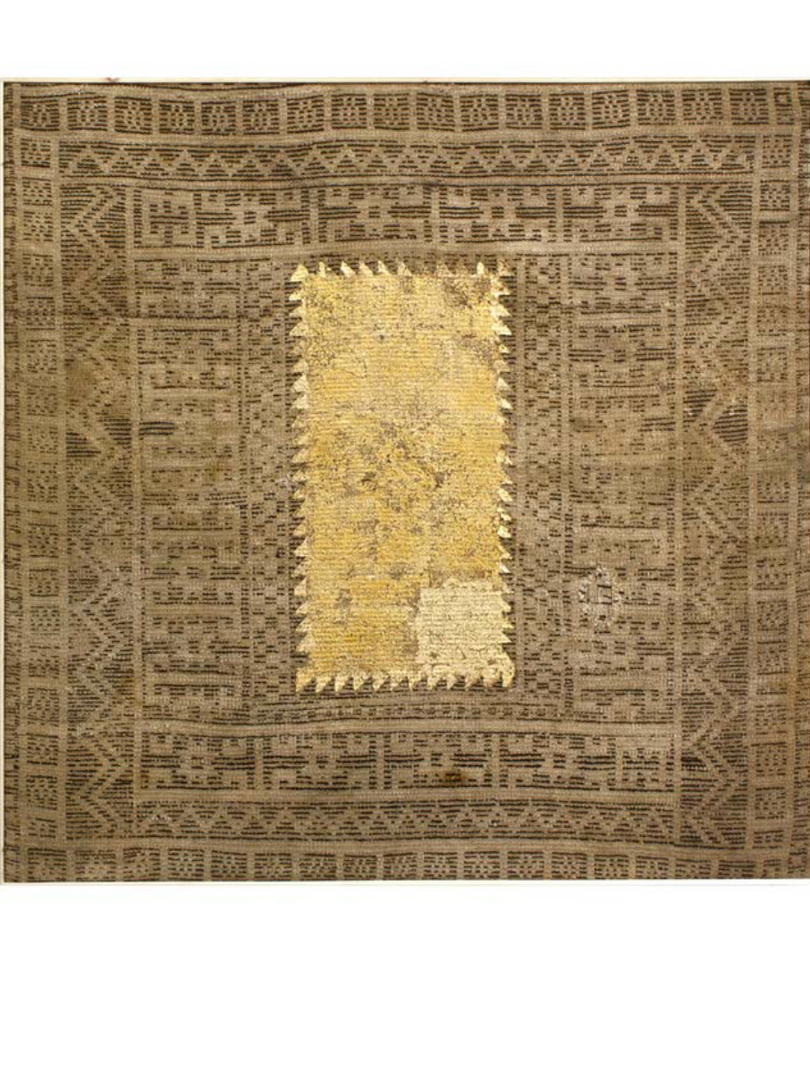 Katibeh #01   Old Persian carpet with layer of gold leaf  133 x 133 x 3 cm  2015