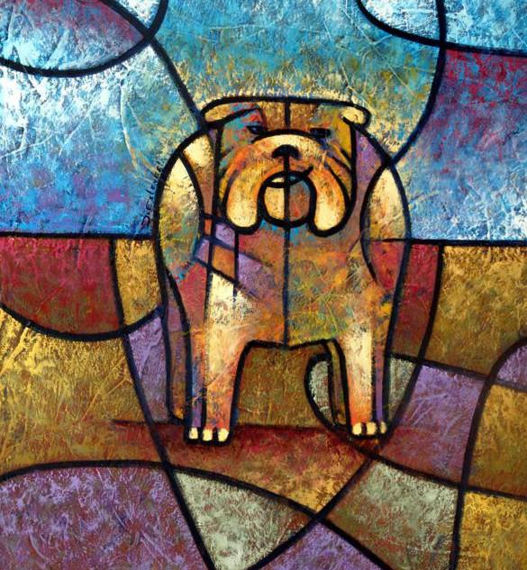 Love bulldog - 60 x 50 cm.