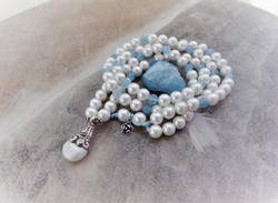Perle Aquamarin Perlenanhänger tibetsilb