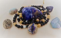 Drachenauge Onyx, Calcit, Amazonit, Blau
