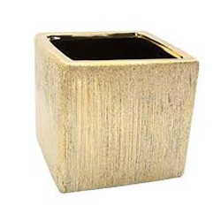 Gold Etched Square Vase