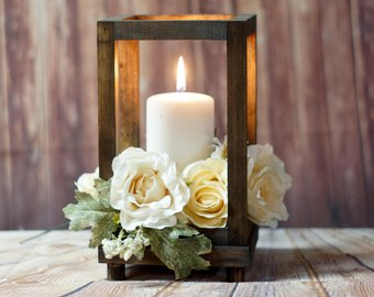 Wood Candle Pillar Centerpiece