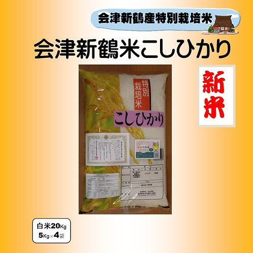 新米 特別栽培米 会津新鶴米こしひかり20Kg(5Kg×4)