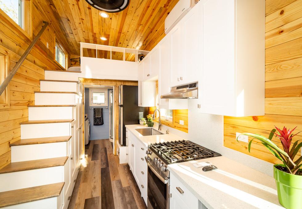 kitchen, stairs to main loft