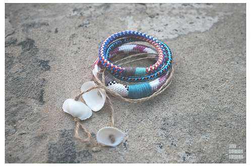 Bracelets set with shells
