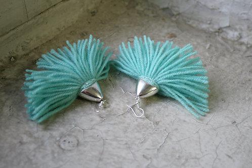 Fringe wool earrings
