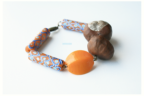 Bracelet with chestnuts & ceramic brazilian beads