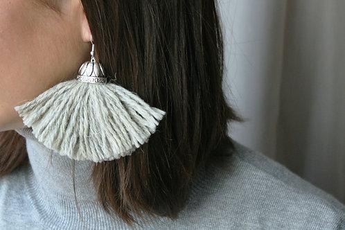 Fringe grey earrings