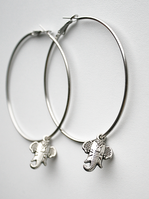 Ring earrings with elephants