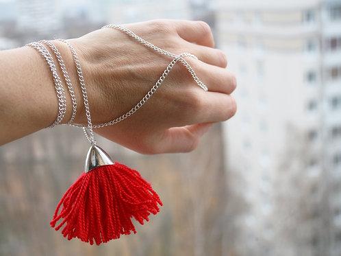 Fringe bracelet red