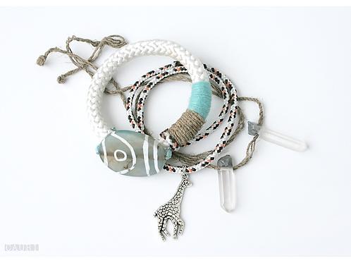 Bracelets set with Green Agate & Rhinestones