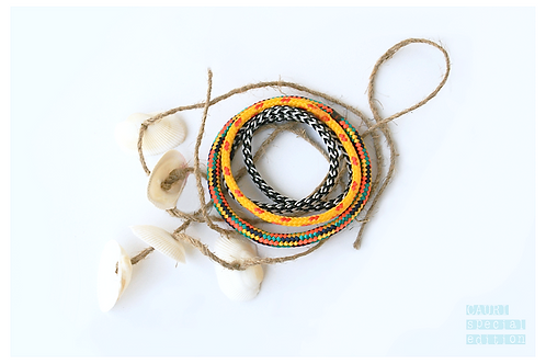 TRIBE Rasta Bracelets set with shells