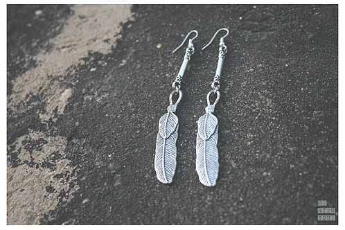 2 FEATHERS earrings