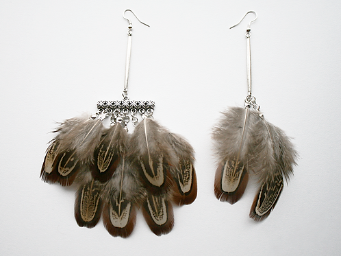 Earrings with Pheasant feathers