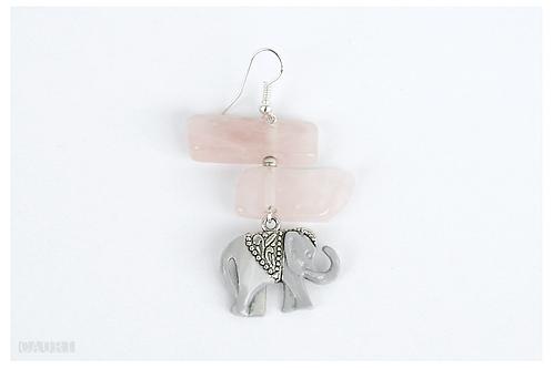 ROSE ELEPHANT earring with rose quartz