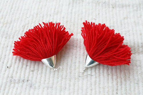 Fringe earrings red