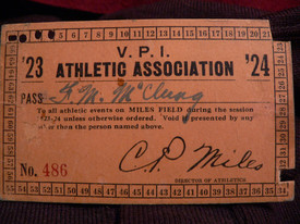 1923/1924 VPI Athletic Pass