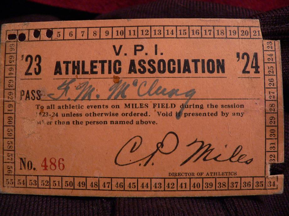 1923/1924 VPI Athletic Pass