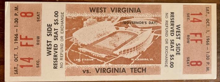 1966 vs West Virginia. WVU's 1st trip to Lane Stadium