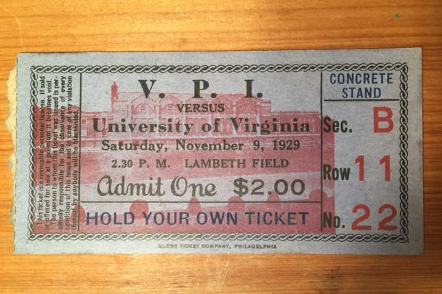 1929 VPI UVA football ticket