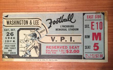 1940 VPI Football ticket