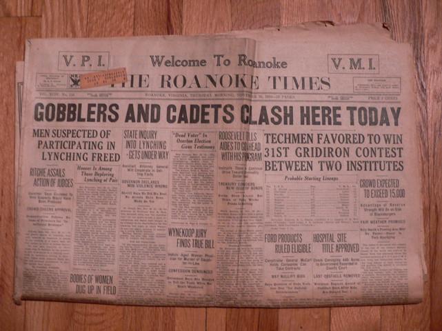 1933 Roanoke Times VPI/VMI