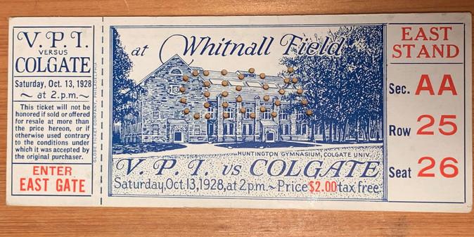1928 VPI Colgate ticket