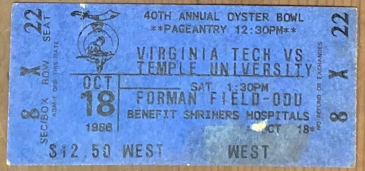 1986 Oyster Bowl vs Temple