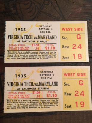 Pair of 1935 VPI football tickets