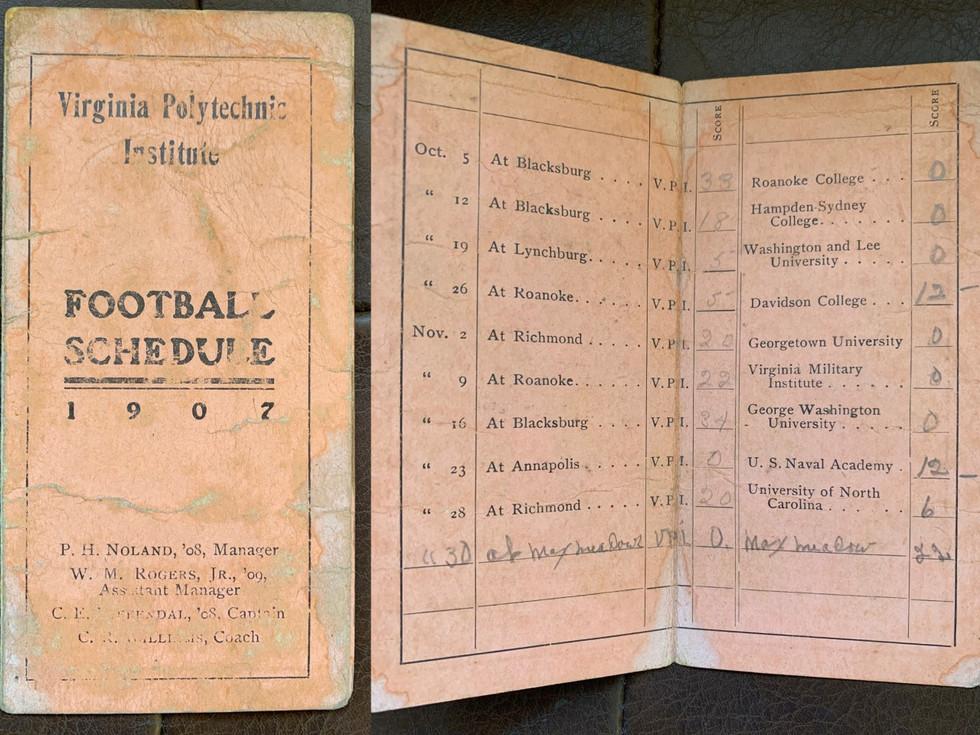 1907 Football Schedule