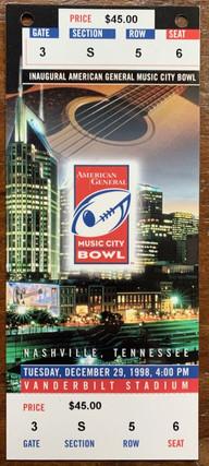 1998 Music City Bowl vs Bama