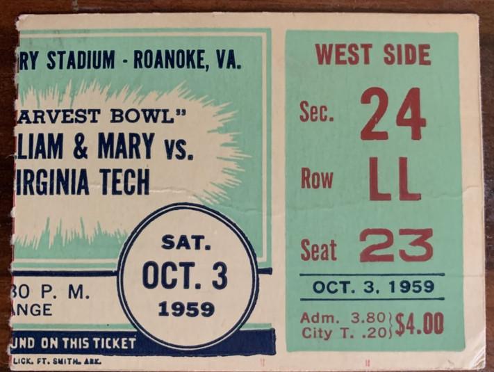 1959 Harvest Bowl vs W&M