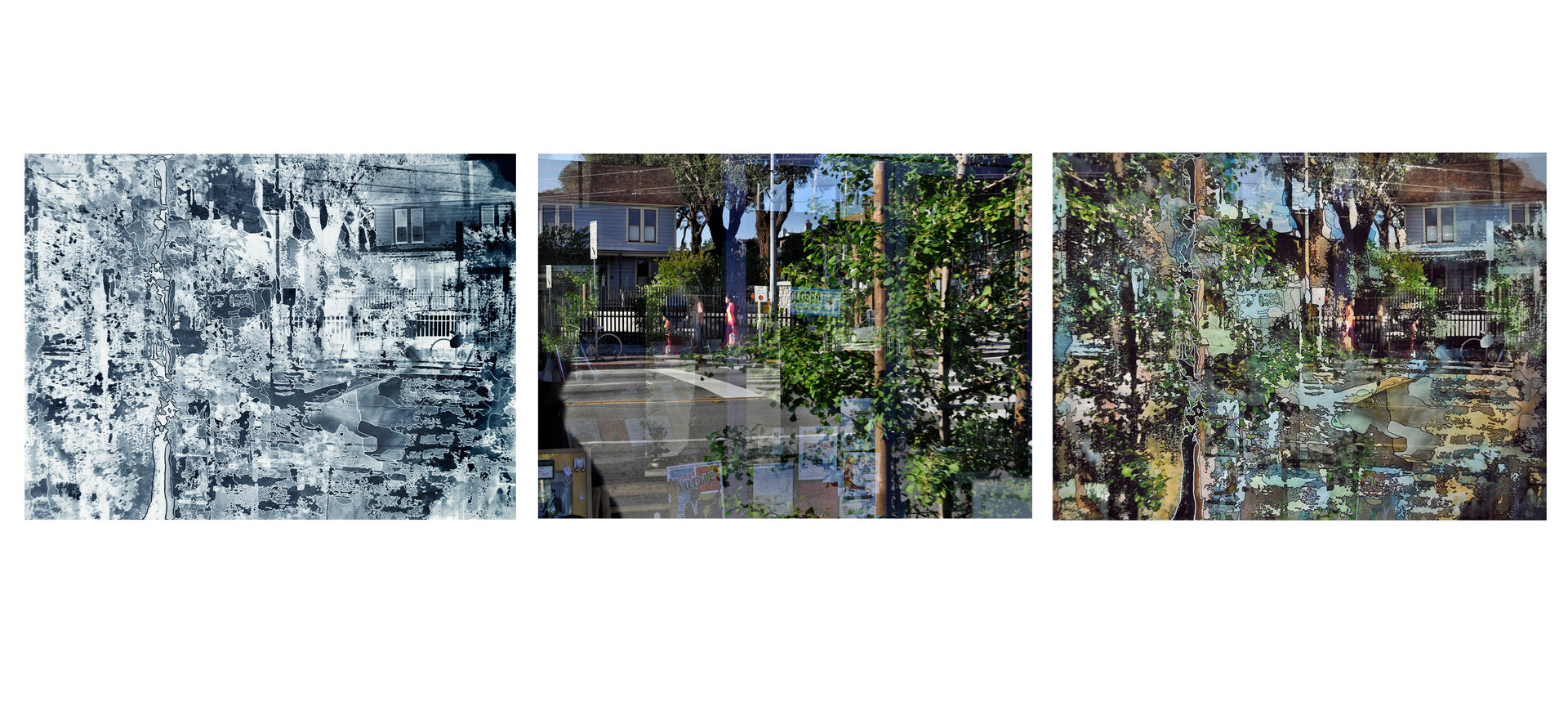 Sidewalk Channel (Triptych)