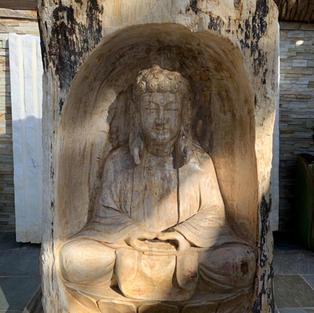 BUDDHA CARVED STATUE PETRIFIED FOSSIL