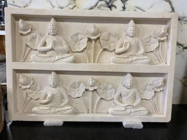 BUDDHA FLOWERS CARVED STONE PANEL
