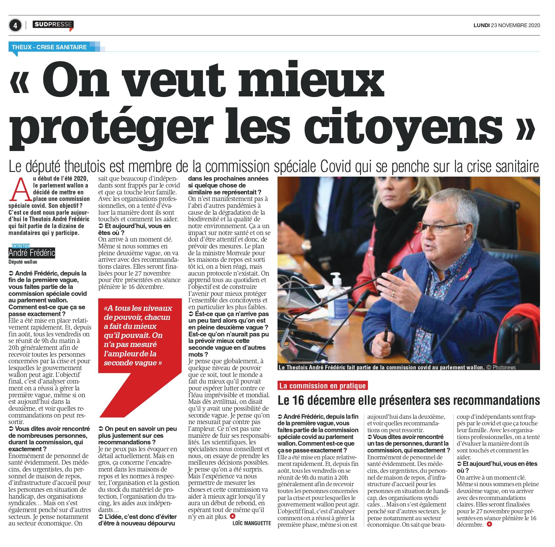 presse du 23 11 20 - Sudpresse