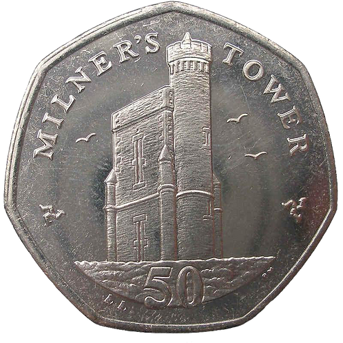 50p Milner's Tower - Isle of Man Fifty Pence - Circulated