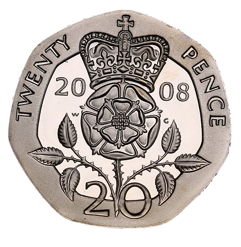 20p Twenty Pence Tudor Rose 1990 - Circulated