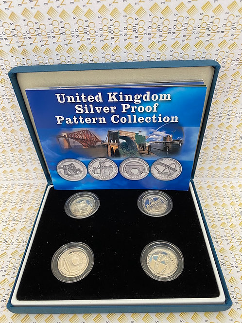 United Kingdom Silver Proof Pattern 4 One Pound Coin Collection - Cities BOXED