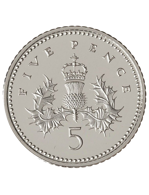 5p Five Pence Crowned Thistle 2001 - Circulated