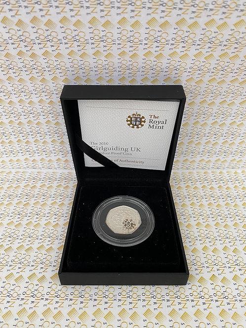 2010 Royal Mint Girlguiding 50p Fifty Pence Silver Proof Coin Box Coa