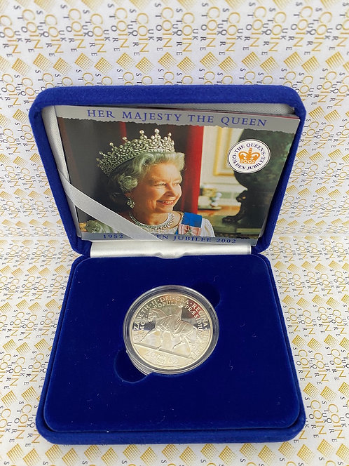 2002 Queen Golden Jubilee Silver Proof 5 pound coin Royal Mint . BOXED