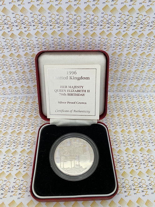 1996 Silver Proof Crown - Her Majesty Queen Elizabeth II 70th Birthday COA/BOXED