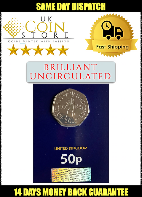 Brilliant Uncirculated 50 Pence Fifty Pence Battle of Hastings 2019 - BU