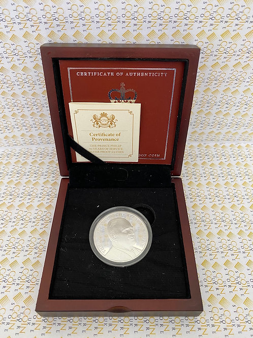 2017 Jersey Prince Philip 70 Years of Service silver £5 proof coin. COA/Box