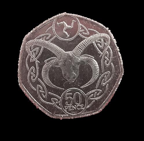 50p Manx Loaghtan - Isle of Man Fifty Pence - Circulated